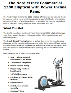Nordick Track Commercial 1300 Elliptical Trainer - New Condition
