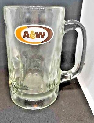 Vintage A&W Heavy Glass Root Beer Mug Classic Orange and Brown Logo 1968 Heavy