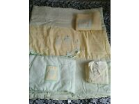 Baby cot quilt, fleece, bumper for sale