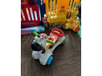 Baby Infant Toddler VTech Ride On Scooter Walker 3-in-1 Zebra Lights & Sounds