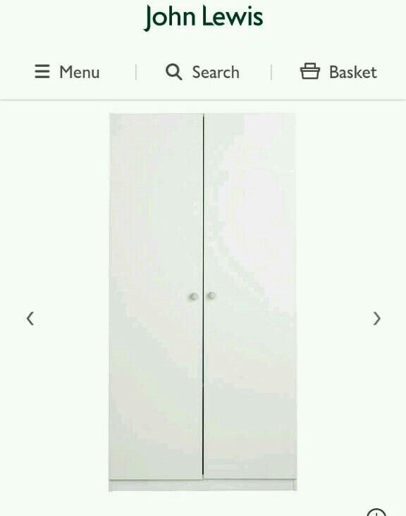 JOHN LEWIS 2 DOOR HIGH GLOSS WHITE WARDROBE NEW 2 SIZESNOT MANY LEFT) BARGAINin Oldham, ManchesterGumtree - Brand new John Lewis mixit wardrobe White high gloss doors2 door100cm wide 201cm and 236cm high Both height sizes in this Grey ash frame Collection