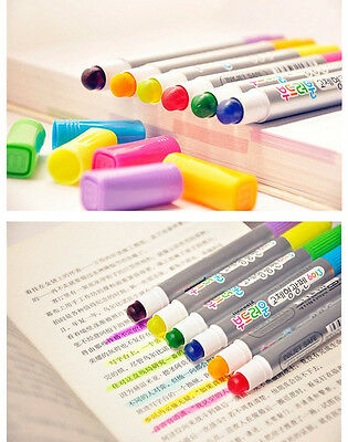 Monami Color Highlighter Fluorescent 6 Pens Gel Solid Marker Pen Korea 6013
