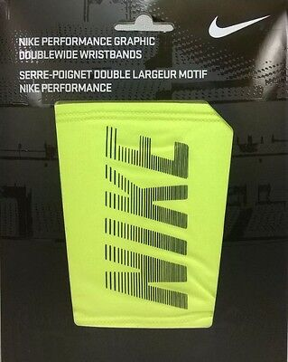 Nike Performance Graphic Doublewide Wristbands Armbands Yellow Basketball New