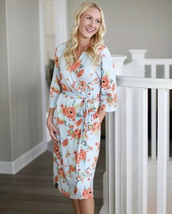 Milkmaid Goods Womens Coral Poppy Blue Maternity Robe S