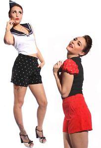 50s-ancla-retro-Sailor-pin-up-marineros-High-waist-hot-pants-pantalones-Shorts