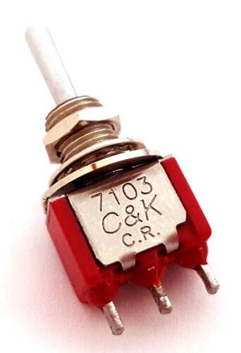 Toggle Switches Miniature 0.4VA 20 VAC/VDC SPDT ON-OFF-ON C&K 7103SYCQE (5 pcs)
