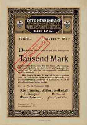 Otto Henning Greiz 1922 Vogtland Thüringen Lithographie 1000 Mark Stolzer Hahn