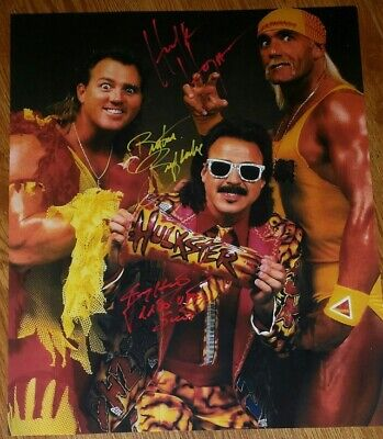 HULK HOGAN, BRUTUS BEEFCAKE & JIMMY HART signed poster, wwe, wcw, aew, NXT