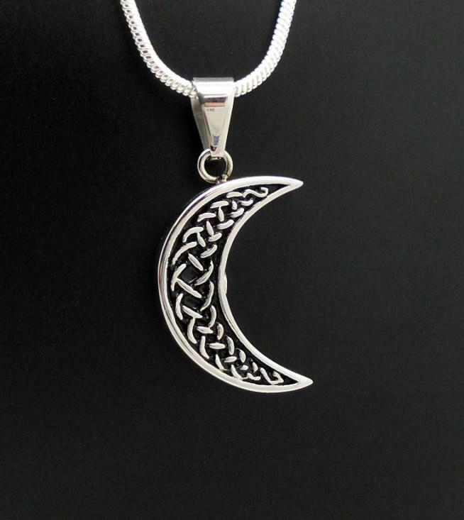 Celtic Cresent Moon Memorial Keepsake Cremation Funeral Urn Jewellery Pendant