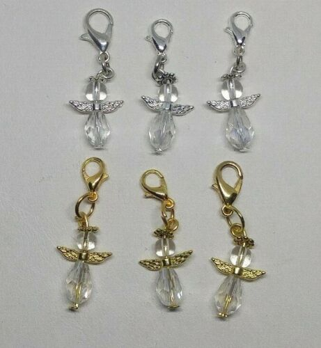 3pc or 10pc Clear Guardian Angel Zipper Pull/ Charm/ Pendant; Wholesale Gift