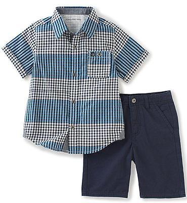 Calvin Klein Baby Boys' 2-Pc Plaid Woven Shirt & Twill Short