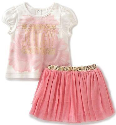 Juicy Couture Baby Girls 2Pc Biege Top & Skooter Set 0/3M 3/