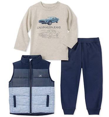 Calvin Klein Infant Boy Navy Vest 3pc Jogger Set Size 3/6M 6