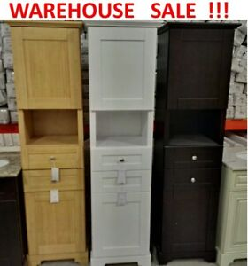 SOLID WOOD LINEN TOWER - FLOOR MODEL CABINETS ON SALE - 70% OFF!