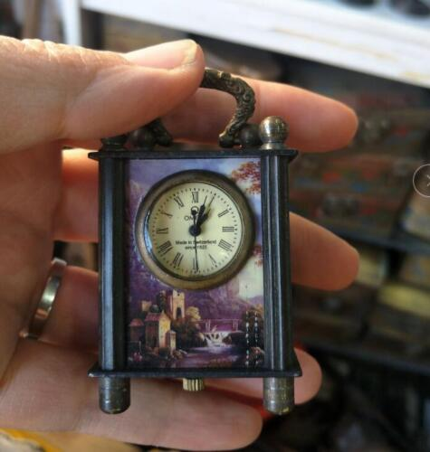 Collectible Old Chinese cloisonne Handwork Mechanical Table Small Clock