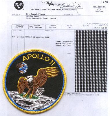"""1969 Apollo 11 4"""" patch & bill of sale as COA original"""