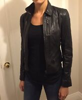Black Leather Jacket - XS