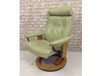 Vintage Ekornes stressless leather recliner armchair