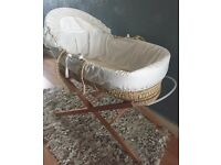 Cream Moses basket with stand