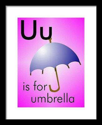 U is for umbrella - Art Print Home Decor Wall -  Flashcard (frame not included)](U Is For Umbrella)