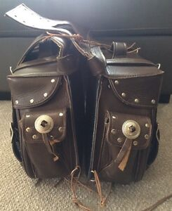brown leather saddlebags