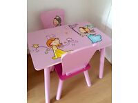 Girls sold wooden table & 2 chairs princess fairies