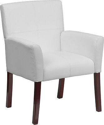 White Leather Guest Reception Area Side Chair