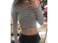 Stripy long sleeved crop top