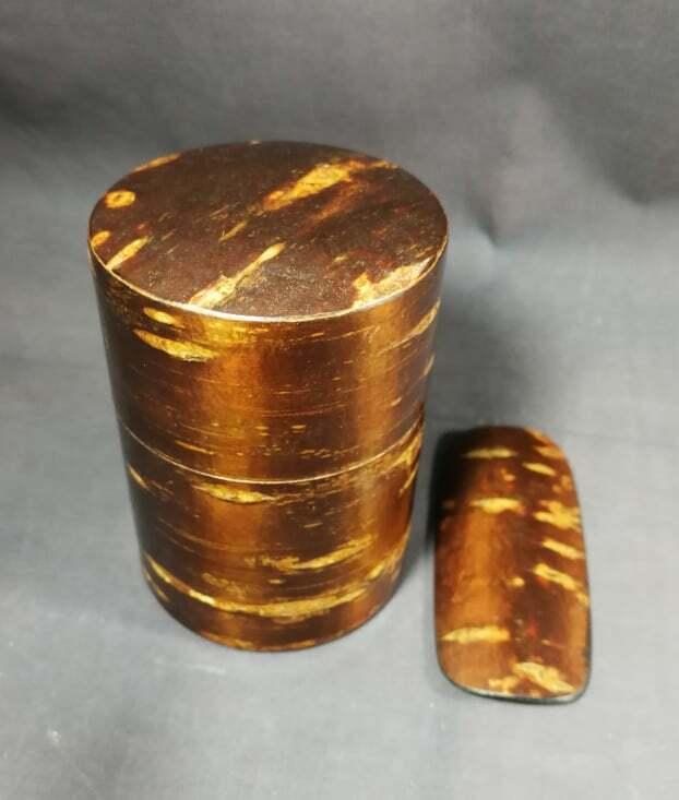 Japanese Cherry Bark wood Tea CADDY Container / spoon Cherry Bark wood