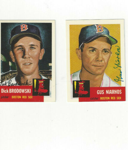 Two Topps Archive autographed Red Sox baseball cards Gus Niarhos & Brodowski