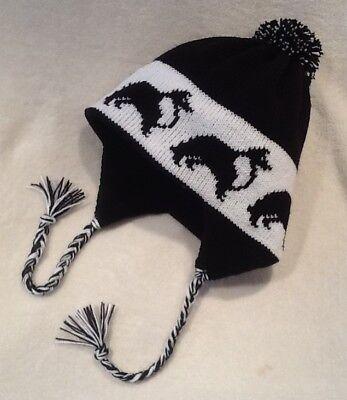 SHELTIE/ SHETLAND SHEEPDOG dog  knitted  Lined BLACK ADULT TRAPPER EAR FLAP HAT