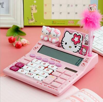 Cute Hello Kitty Calculator With Pen And Notebook 12 Digits Stationery Nice Gift