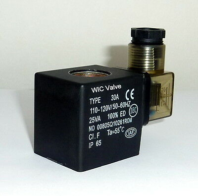Wic Valve 2d Series 110v Ac Solenoid Coil With Din Connector And Led Indicator