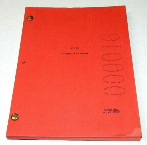 X-MEN MOVIE SCRIPT ED SOLOMON SECOND DRAFT 3/6/98 INCREDIBLY RARE RED