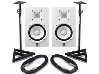 Yamaha HS7 (white) with stands and cable