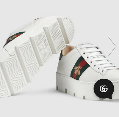 Gucci Ace Bee Platform Embroidered Sneakers 37 Uk 4
