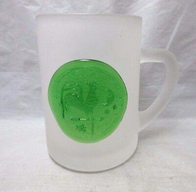Vintage frosted glass stein mug. N.J. Studio art glass green ROOSTER
