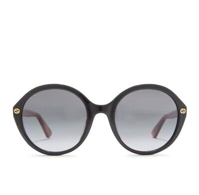 New Authentic Gucci Women Round Sunglasses GG0023S Black Gray Lens 55mm ITaly