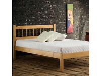 Pine double bed and mattress free
