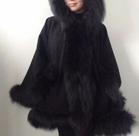 """""""Natalia"""" Black Cashmere Cape with the real silver Fox Fur"""