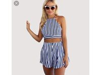 Navy and white shorts and crop top two piece