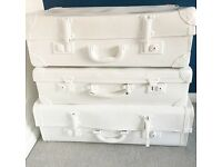 Vintage suitcases painted white bedside side table, shabby chic upcycled vintage cases