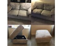 2x 2 seater sofa and matching storage footstall