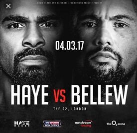 David Haye V Tony Bellew Price Level 1A Tickets £331 per ticket face value