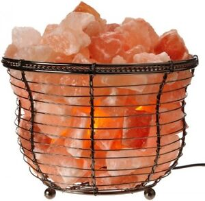 Lamp Basket with Himalayan Salt Crystals, Natural Air Purifying, Dimmer Bulb