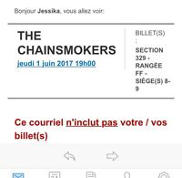 2 billets pour THE CHAINSMOKERS