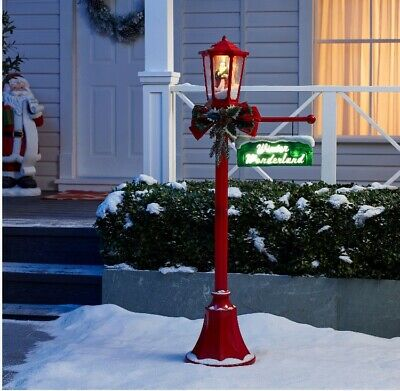 """New Christmas Outdoor Decorations Snow Blowing Santa Light Up Lamp Post Tall 56"""""""