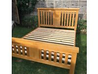 Very substantial solid oak kings size bed frame in excellent condition