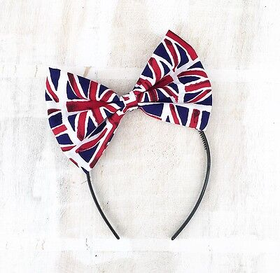 Union Jack, red, white and blue large Bow Headband Rockabilly PIN UP girl