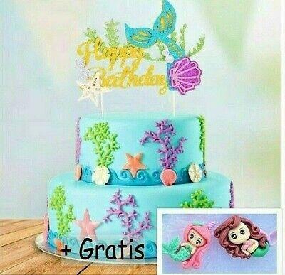 Happy Birthday Meerjungfrau Cake Topper Kuchen Torten Stecker Deko Glitzer Figur